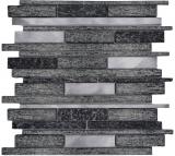 Mosaik Fliese Transluzent Aluminium schwarz Verbund Glasmosaik Crystal Stein Alu schwarz MOS49-GV84