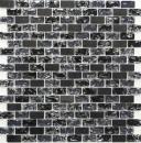 Mosaik Fliese Transluzent schwarz Brick Glasmosaik Crystal Stein schwarz MOS87-b1128
