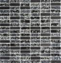 Mosaik Fliese Transluzent schwarz Stäbchen Glasmosaik Crystal Stein schwarz MOS87-s1228