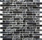 Mosaik Fliese Transluzent schwarz Verbund Glasmosaik Crystal Stein schwarz MOS87-v1328