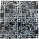 Mosaik Fliese Transluzent schwarz Kombination Glasmosaik Crystal Stein schwarz MOS92-HQ14