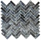 Mosaik Fliese Transluzent schwarz Fischgrät Glasmosaik Crystal Stein schwarz MOS87HB-0328