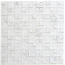 Mosaikfliese Transluzent weiß Kombination Glasmosaik Crystal Stein weiß MOS87-v1311
