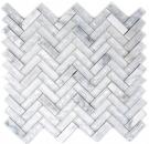 Mosaik Fliese Transluzent weiß Fischgrät Glasmosaik Crystal Stein weiß MOS87HB-0111