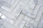 Mosaikfliese Transluzent weiß Fischgrät Glasmosaik Crystal Stein weiß MOS87HB-0111