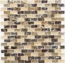 Mosaik Fliese Transluzent dunkelbeige Brick Glasmosaik Crystal Stein emperador dunkel MOS87-B1155