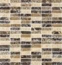 Mosaik Fliese Transluzent dunkelbeige Stäbchen Glasmosaik Crystal Stein emperador dunkel MOS87-B1155