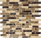Mosaik Fliese Transluzent dunkelbeige Verbund Glasmosaik Crystal Stein emperador dunkel MOS87-V1355