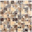 Mosaikfliese Transluzent dunkelbraun Kombination Glasmosaik Crystal Stein emperador dunkel MOS87-V1355