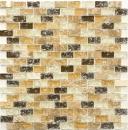 Mosaik Fliese Transluzent hellbeige Brick Glasmosaik Crystal Stein emperador hell MOS87-B1153