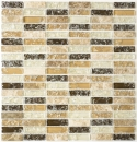 Mosaik Fliese Transluzent hellbeige Stäbchen Glasmosaik Crystal Stein emperador hell MOS87-S1153