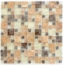 Mosaikfliese Transluzent hellbraun Kombination Glasmosaik Crystal Stein emperador hell MOS87-V1353