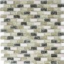 Mosaikfliese Transluzent graugrün Brick Glasmosaik Crystal Stein graugrün MOS87-B1152