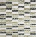 Mosaik Fliese Transluzent graugrün Stäbchen Glasmosaik Crystal Stein graugrün MOS87-S1152
