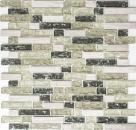Mosaik Fliese Transluzent graugrün Verbund Glasmosaik Crystal Stein graugrün MOS87-V1352