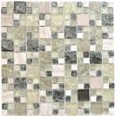 Mosaikfliese Transluzent graugrün Kombination Glasmosaik Crystal Stein graugrün MOS87-V1352