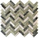 Mosaik Fliese Transluzent graugrün Fischgrät Glasmosaik Crystal Stein graugrün MOS87HB-0552