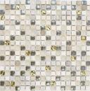 Mosaikfliese Transluzent hellgrau gold Glasmosaik Crystal Stein EP hellgrau gold MOS92-HQ12
