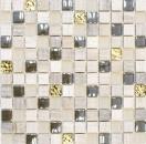 Mosaikfliese Transluzent hellgrau gold Glasmosaik Crystal Stein EP hellgrau gold MOS83-HQ22