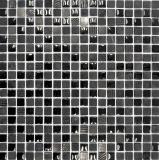 Mosaikfliese Transluzent grau schwarz Glasmosaik Crystal Stein EP grau schwarz silber MOS92-HQ19