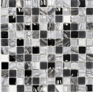 Mosaik Fliese Transluzent grau schwarz Glasmosaik Crystal Stein EP grau schwarz silber MOS83-HQ24