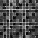 Mosaikfliese Transluzent dunkelgrau schwarz Glasmosaik Crystal Stein Relief dunkelgrau schwarz MOS83-HQ29