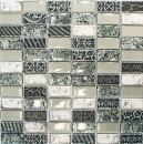 Mosaikfliese Transluzent silber Rechteck Glasmosaik Crystal Stein Retro silber MOS83-CRS2