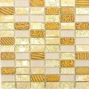 Mosaikfliese Transluzent gold Rechteck Glasmosaik Crystal Stein Retro gold MOS83-CRS4