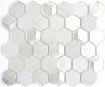 Mosaik Fliese Transluzent weiß Hexagon Glasmosaik Crystal Stein 3D weiß MOS11D-HXN11