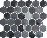 Mosaikfliese Transluzent schwarz Hexagon Glasmosaik Crystal Stein 3D schwarz MOS11D-33