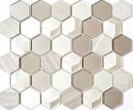 Mosaik Fliese Transluzent hellgrau Hexagon Glasmosaik Crystal Stein 3D hellgrau MOS11D-44