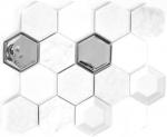 Mosaikfliese Transluzent weiß Hexagon Glasmosaik Crystal Stein 3D weiß MOS11E-66