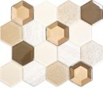 Mosaikfliese Transluzent beige Hexagon Glasmosaik Crystal Stein 3D beige MOS11E-77