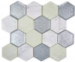 Mosaik Fliese Transluzent grau silber Hexagon Glasmosaik Crystal Stein grau silber MOS11E-88