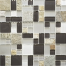 Mosaikfliese Transluzent grau braun Kombination Glasmosaik Crystal Stein grau braun MOS88-0206
