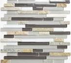 Mosaik Fliese Transluzent grau braun Verbund Glasmosaik Crystal Stein grau braun MOS86-0202