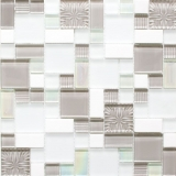 Mosaikfliese Transluzent weiß grau Kombination Glasmosaik Crystal Stein weiß grau weiß matt MOS88-MC659