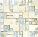 Mosaikfliese Transluzent gold hellgrün Kombination Glasmosaik Crystal Stein Onyx gold MOS88-MC639