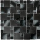 Mosaikfliese Transluzent schwarz Kombination Glasmosaik Crystal Stein schwarz gebrochene Kante MOS88-0304