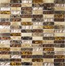 Mosaik Fliese Transluzent beige braun Stäbchen Glasmosaik Crystal Stein beige braun MOS87-1310