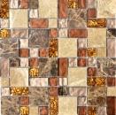 Mosaikfliese Transluzent beige braun Kombination Glasmosaik Crystal Stein beige braun MOS88-1303