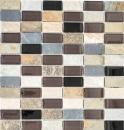 Mosaik Fliese Transluzent beige braun grau schwarz Rechteck Glasmosaik Crystal Stein MOS87-1312