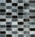Mosaikfliese Transluzent grau schwarz Rechteck Glasmosaik Crystal Stein grau schwarz MOS87-1303