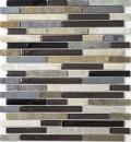 Mosaik Fliese Transluzent beige braun grau schwarz Verbund Glasmosaik Crystal Stein MOS86-0206