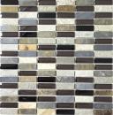 Mosaik Fliese Transluzent beige braun grau schwarz Stäbchen Glasmosaik Crystal Stein MOS87-1313
