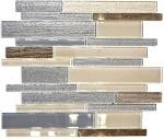 Mosaikfliese Transluzent beige grau Verbund Glasmosaik Crystal Stein beige grau MOS67-GV24