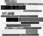 Mosaikfliese Transluzent grau schwarz Verbund Glasmosaik Crystal Stein klar grau schwarz MOS67-GV34_f