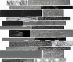 Mosaikfliese Transluzent grau schwarz Verbund Glasmosaik Crystal Stein grau schwarz MOS67-GV44