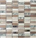 Mosaik Fliese Transluzent hellbraun silber grau Rechteck Glasmosaik Crystal Stein hellbraun MOS87-SM68