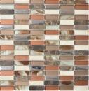 Mosaik Fliese Transluzent braun silber Rechteck Glasmosaik Crystal Stein braun MOS87-SM78